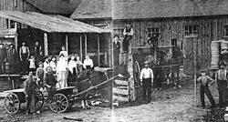Visitors and employees at the Johnston & White Mill about 1903