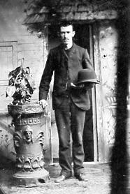 Tin photograph - unidentified man with a hat