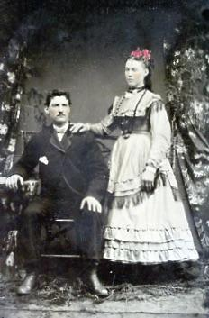 Tin photograph - unidentified man and women