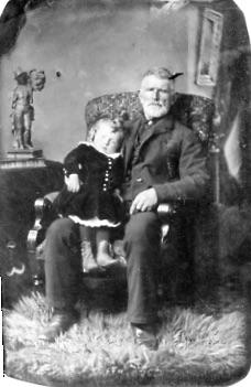 Tin photograph - unidentified man with small child