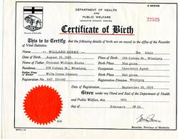 Willard Rorke - Birth Certificate