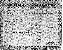 Copy of Willard Rorke's death certificate