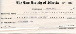 Willard Rorke - Law Society of Alberta - Admission Fee Payment