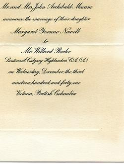Wedding announcement - Margaret Yvonne Newell to Willard Rorke - part 1