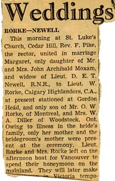 Wedding Announcement - Margaret Yvonne Newell to Willard Rorke - Part 2
