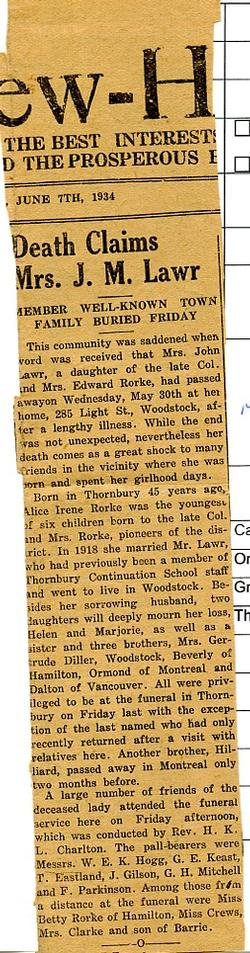 Death Claims Mrs. J. M. Lawr