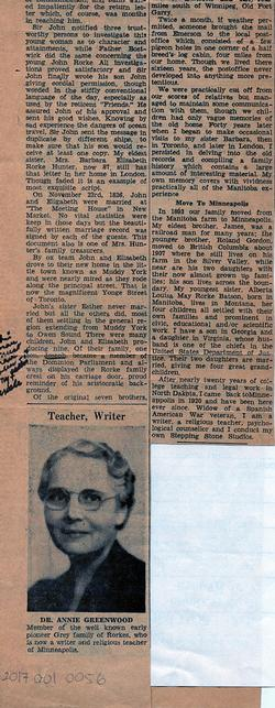 "Newspaper Article - ""Former Clarksburg Girl Dr A.S. Rorke Greenwood is U.S. Religious Teacher"" - Part 2"